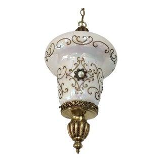 1950s Opalescent Glass Pendant Light