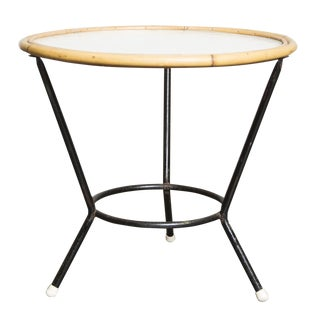 Round Bamboo and Glass Side Table by Rohe Noordwol