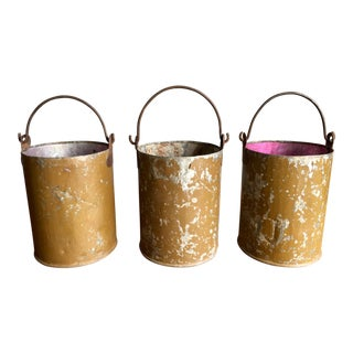 Galvanized Metal Buckets - Set of 3
