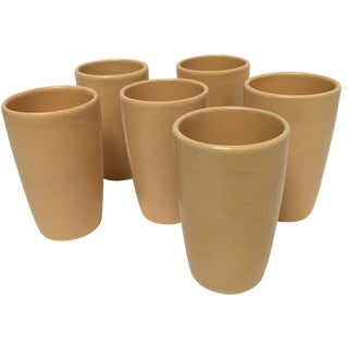 Mid-Century Yellow Pottery Tumblers - Set of 6