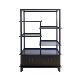 Sleek Ebonized Bookshelf with Mid Century Styling