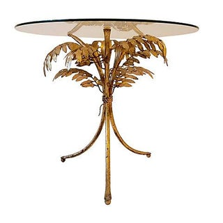 Italian Gilt Iron Palm Fronds Side Table