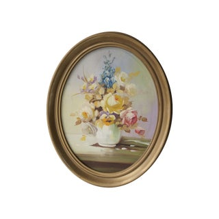 Vintage Floral Still Life in Oval Frame