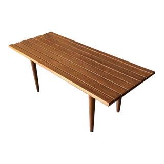 Mid-Century Style Walnut Slab Bench Table