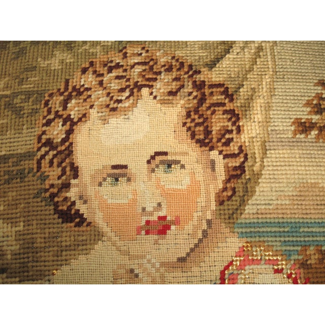 19th C Needlepoint Tapestry Portrait of Child Pillow - Image 4 of 7
