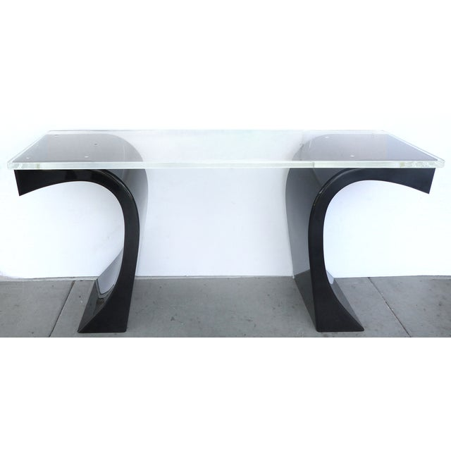 Curved Acrylic & Lucite Console - Image 6 of 6