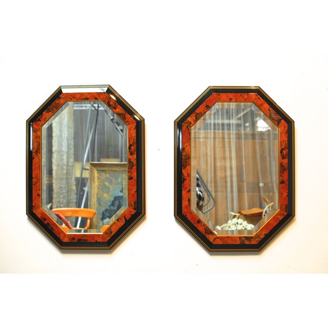 Black Lacquer Octagonal Mirrors by Dolbi - A Pair - Image 2 of 5