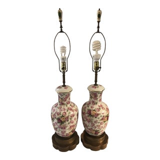 Mid-Century Rose Motif Ceramic Lamps - A Pair
