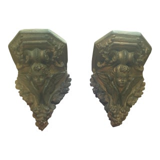 Antique Angel Wall Brackets - Pair