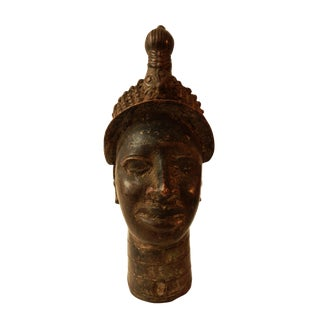 "Benin Royal Bronze Queen Mother Nigeria African 10"" h"