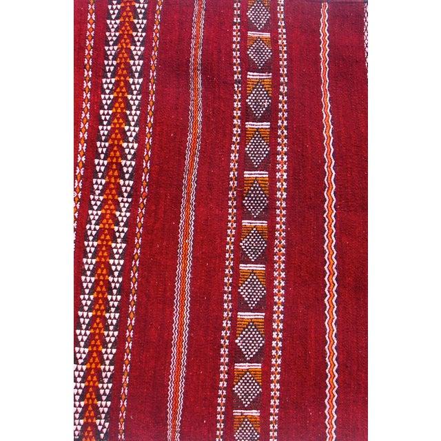 "Maroc Tribal Rug: Moroccan Red Berber Tribal Kilim Rug - 2' 10"" X 5'"