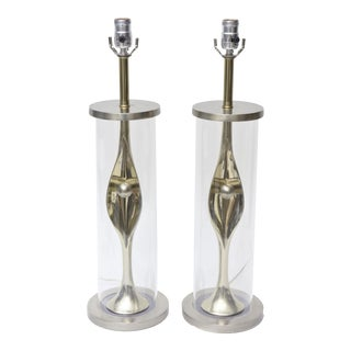 Pair of Sensual Mixed Metal and Lucite Abstract Table Lamps