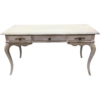 French Antique Painted Three Drawer Desk