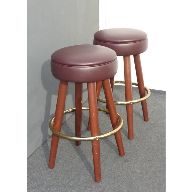 Mid-Century Modern Brown Vinyl Bar Stools - A Pair - Image 5 of 11