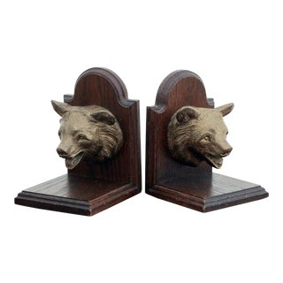 Vintage Solid Brass & Oak Bear Bookends- A Pair