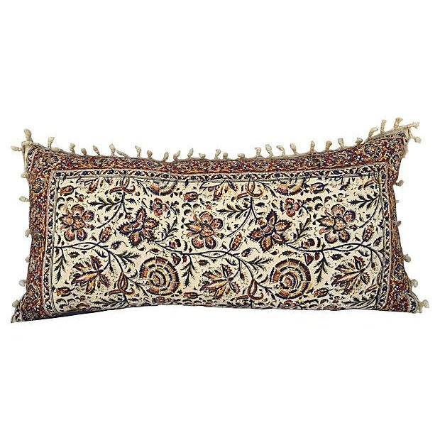 Hand-Blocked Indian Fringed Body Pillow - Image 1 of 5