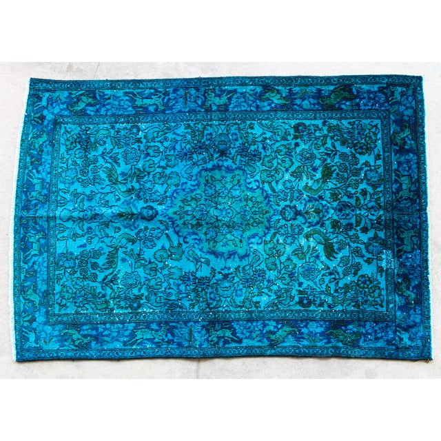 Turkish Rug Austin: Over-Dyed Cerulean Blue Turkish Rug - 3′4″ × 4′10″