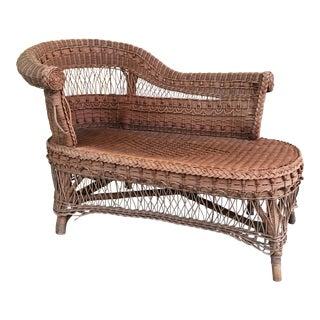 Vintage Boho Wicker Chaise Lounge