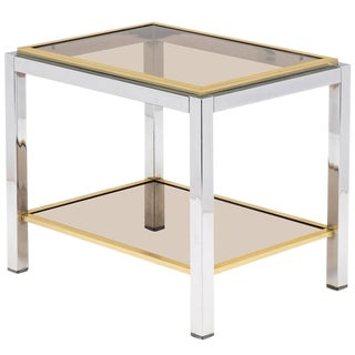 Vintage Mid-Century Chrome and Brass Side Table
