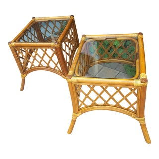 Mid Century Rattan End Tables - A Pair