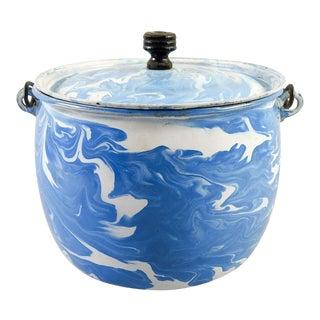Antique Blue & White Swirl Enamelware Lidded Pot
