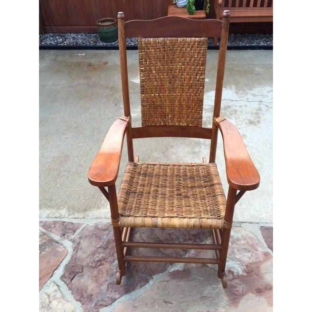 Teak Rattan Rocking Chair - Image 11 of 11
