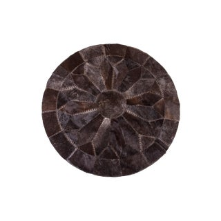 "Black Cowhide Patchwork Area Rug - 5'9"" x 5'9"""