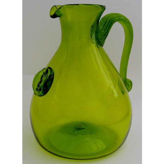 Green Glass Pitcher - Image 2 of 5