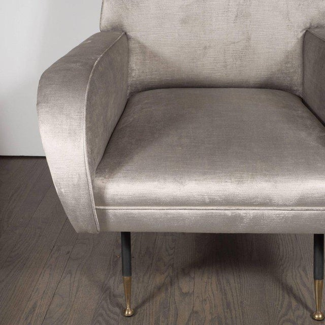 Italian Mid-Century Modern Lounge Chair with Black Enamel Legs and Brass Feet - Image 7 of 9