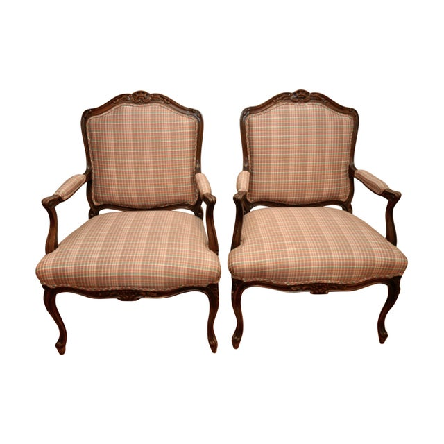 French Berg 233 Re Plaid Accent Chairs A Pair Chairish