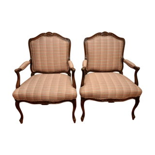 French Bergére Plaid Accent Chairs - A Pair