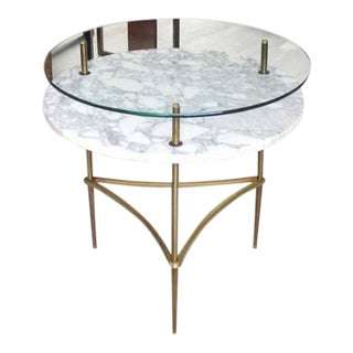 Two Tier Brass Marble & Glass Top Occasional Table