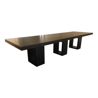 Charcoal Finish Wood Dining Table