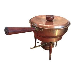 Mid-Century Brass & Teak Fondue Pot