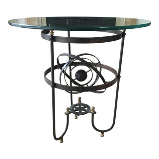 Vintage Iron & Glass Atomic Orbital Glass Top Coffee Table