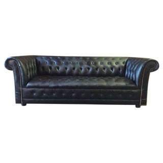 Funky Old Vintage Black Chesterfield Sofa
