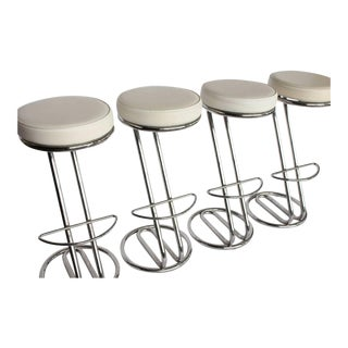 """Modern Leather and Chrome Tube """"Z"""" Stools - Set of 4"""