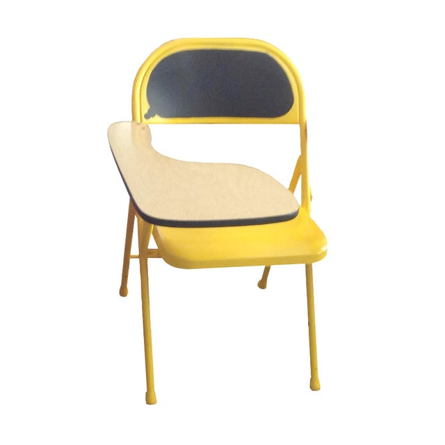 Image of Retro Modernist Yellow Folding Chair Desk