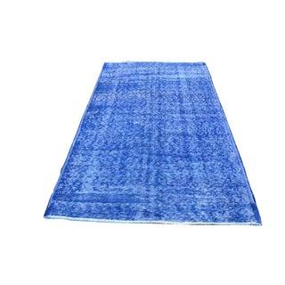 Turkish Handwoven Blue Overdyed Oushak Carpet - 4′10″ × 8′
