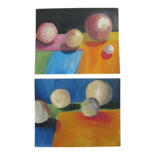 Multi-Colored Spheres Paintings - A Pair