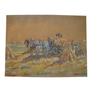 Vintage 1930s Hay Harvest European Painting