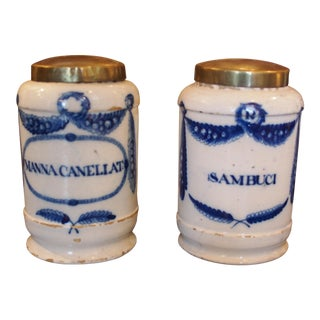 A Pair of 18th c. Blue and White Apothecary Jars