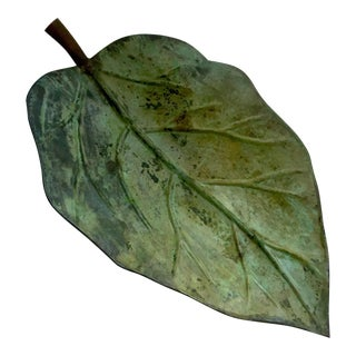 Large Decorative Metal Leaf Tray
