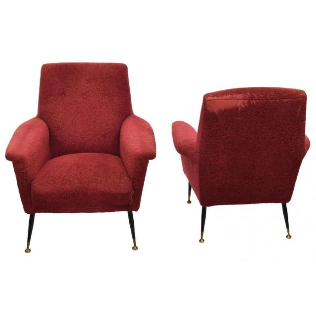 Italian mid century modern armchairs a pair chairish for Mid century modern armchairs