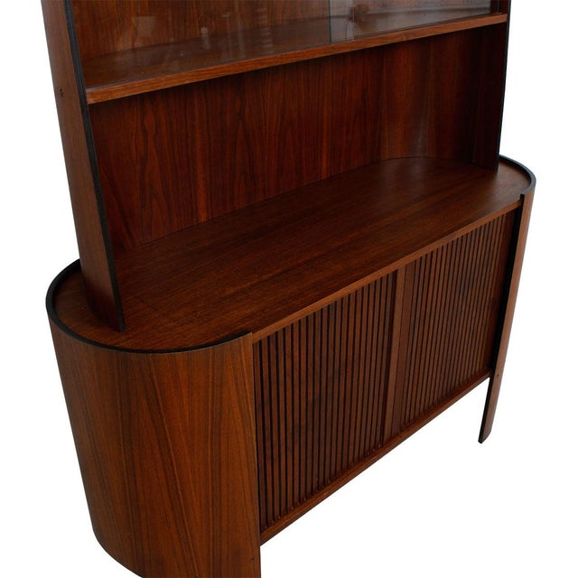 Bentwood display bar cabinet with tambour door chairish for Bentwood kitchen cabinets