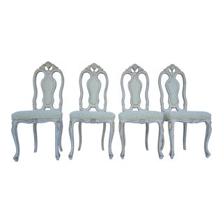 Hollywood Regency / French Provincial Style Dining Chairs Set Of 4.