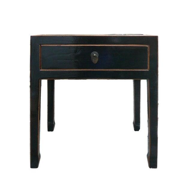 Square Black Single Drawer Side Table - Image 2 of 6