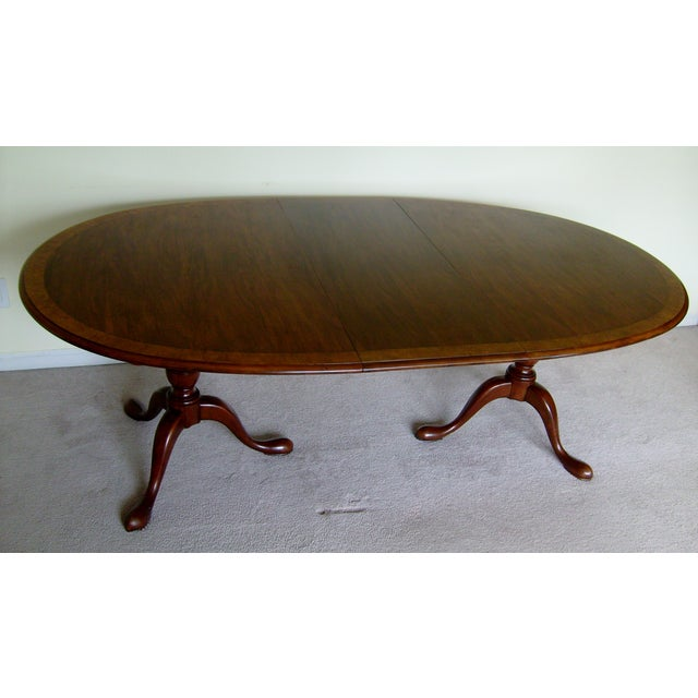 Queen Anne Double Pedestal Dining Table by Baker - Image 2 of 6