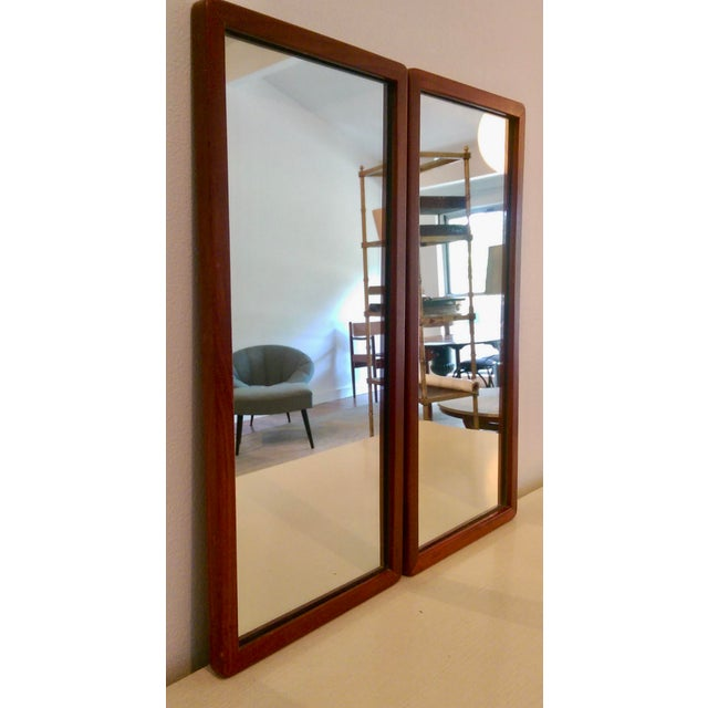 Narrow Danish Modern Teak Mirrors, a Pair - Image 3 of 8