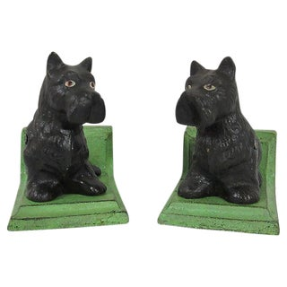 Black Scottie Cast Iron Bookends - A Pair